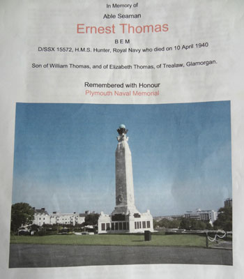 Memorial for Ernest Thomas and others